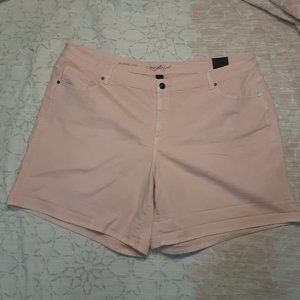 Lane Bryant pink roll-up girlfriend shorts sz 28W
